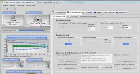 heliciel software interface with the ability to shape the wing or propeller blade with a series of sliders