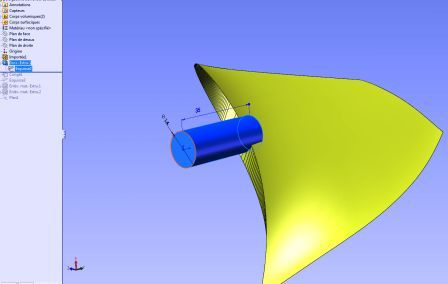 extrusion base pale helice solidworks